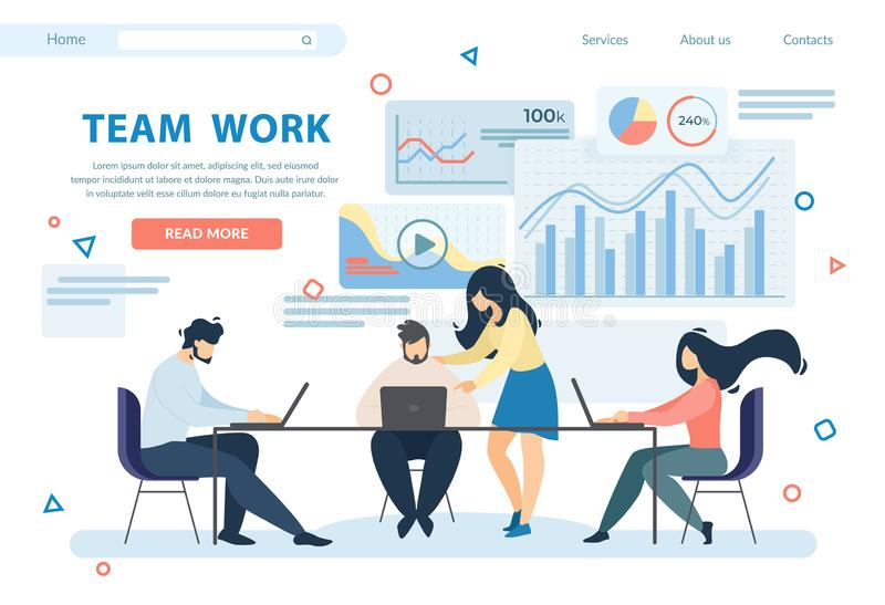 Team Work Horizontal Banner. Business People Group royalty free illustration