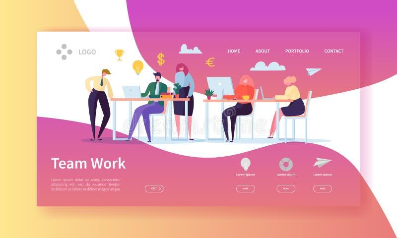 Team Work Landing Page Bandera con los hombres de negocios planos de los caracteres que trabajan junto la plantilla del sitio web ilustración del vector