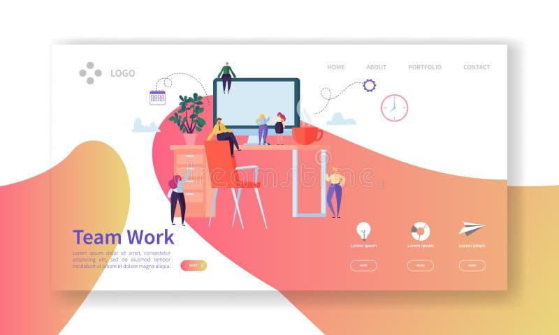 Team Work Landing Page Creatief Procesconcept met Vlakke Mensenkarakters die Websitemalplaatje samenwerken vector illustratie