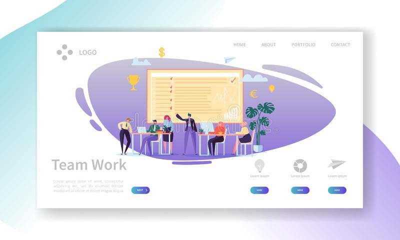 Team Work Landing Page Fahne mit flachen Geschäftsleuten Charakter, dieWebsite-Schablone zusammenarbeiten Einfach bearbeiten Sie lizenzfreie abbildung