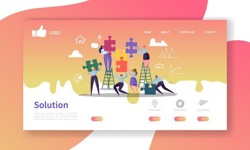 Team Work Landing Page Template Disposição do Web site com caráteres lisos dos povos com enigma Fácil editar e personalizar ilustração do vetor