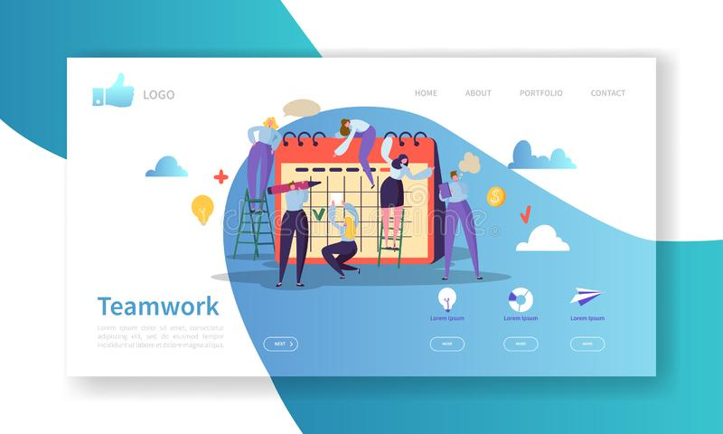 Team Work Landing Page Template. Website Layout with Flat People Characters Working Together. Easy to Edit and Customize. Mobile Web Site. Vector illustration vector illustration