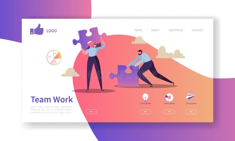 Team Work Landing Page Template Websiteorientering med plana folktecken med pusslet Lätt att redigera och skräddarsy stock illustrationer