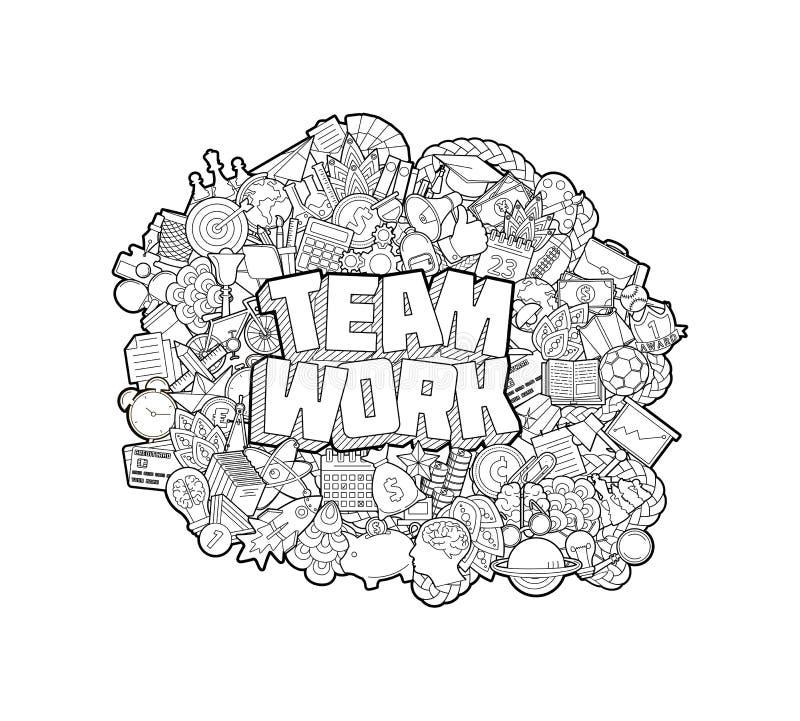 Team Work - letras de la mano y bosquejo de los elementos de los garabatos Ilustración del vector ilustración del vector