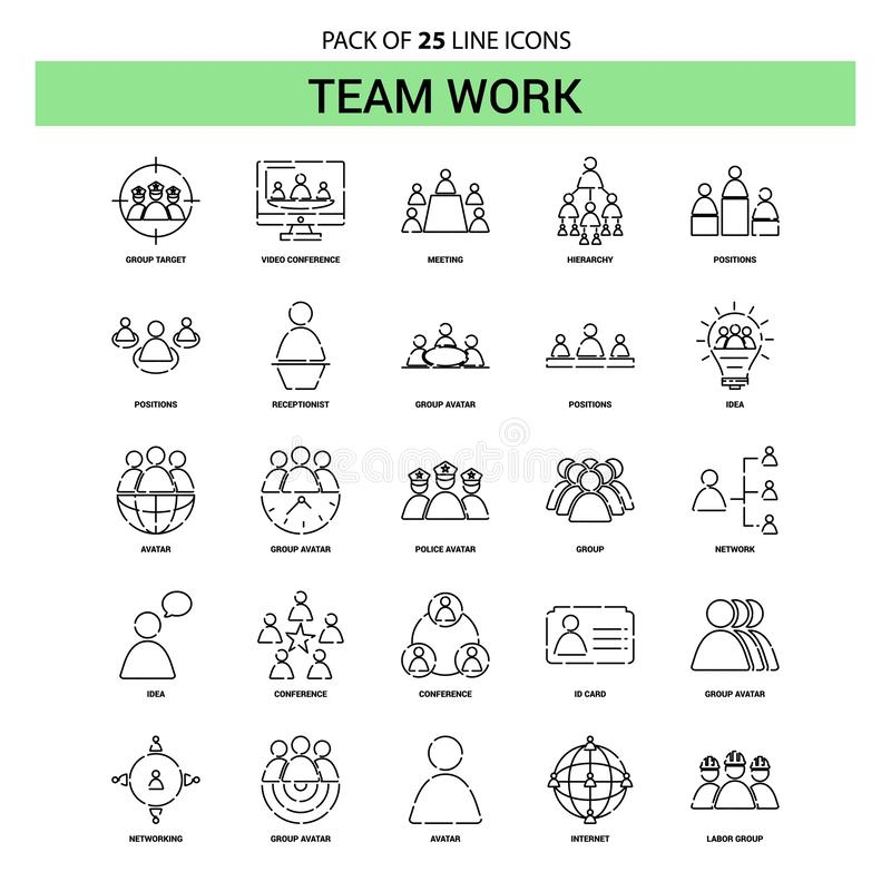 Team Work Line Icon Set - 25 Dashed Outline Style vector illustration
