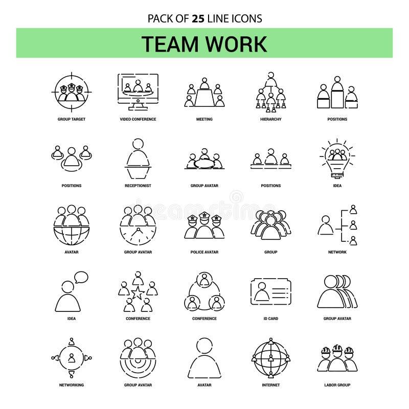 Team Work Line Icon Set - stile tratteggiato del profilo 25 illustrazione vettoriale