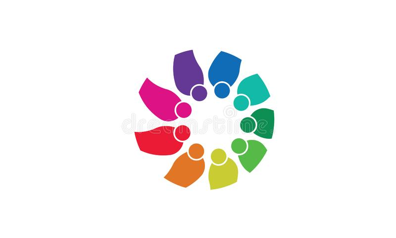 Team Work Logo - affare circolare arrotondato Team United Logo della mascherina di Team Work Union People Logo royalty illustrazione gratis