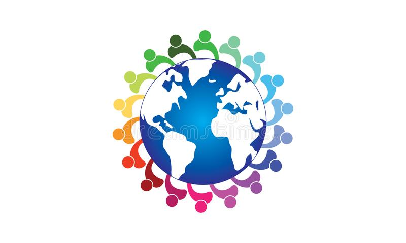 Team Work Logo Around The värld - rundad rund affär Team United Logo för jordklot- och Team Work Union People Logo mall vektor illustrationer