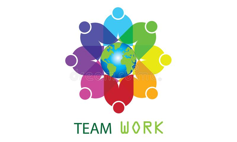 Team Work Logo Around The värld - rundad rund affär Team United Logo för jordklot- och Team Work Union People Logo mall stock illustrationer