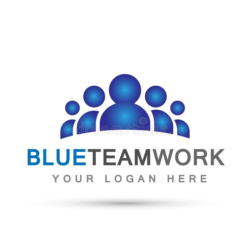 Team work logo in blue partnership education celebration group work people symbol icon vector designs on white background stock illustration