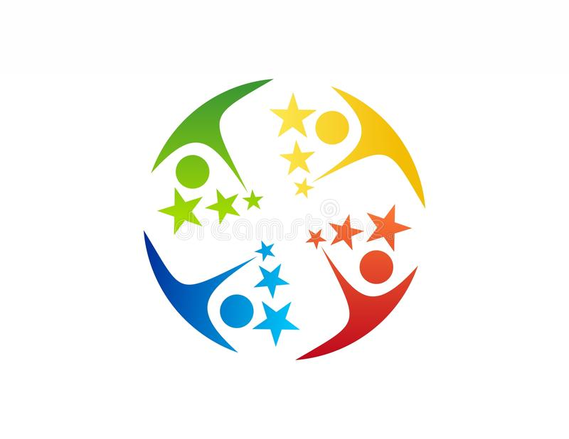 Team work logo,education,celebration people icon symbol. Team work logo,team education,celebration people icon symbol illustration royalty free illustration
