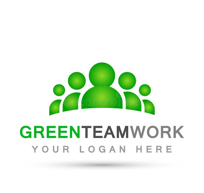 Team work logo in green partnership education celebration group work people symbol icon vector designs on white background. For company or any type design vector illustration