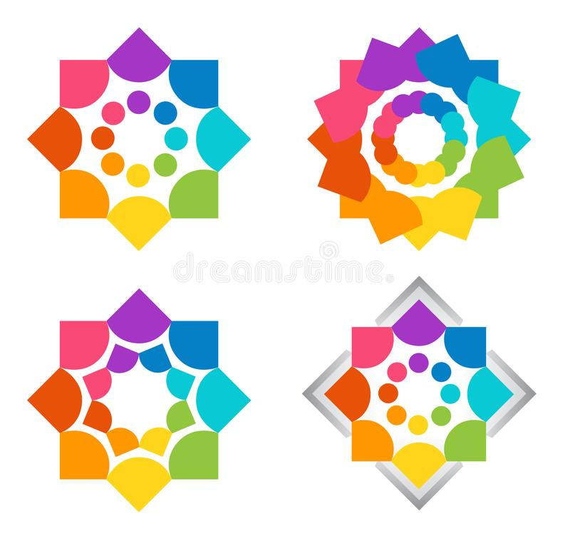 Team work, logo, health, education, hearts, people, care, symbol, set of colorful teams icons designs royalty free illustration