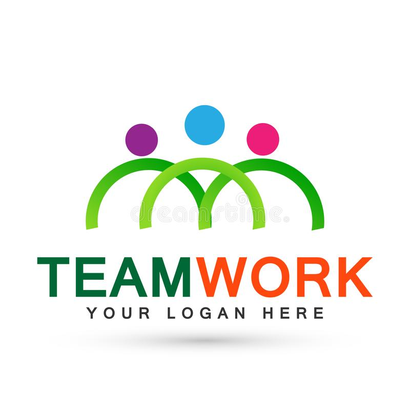 Team work logo partnership education celebration group work people symbol icon vector designs on white background. In ai10 illustrations for coastal company stock illustration