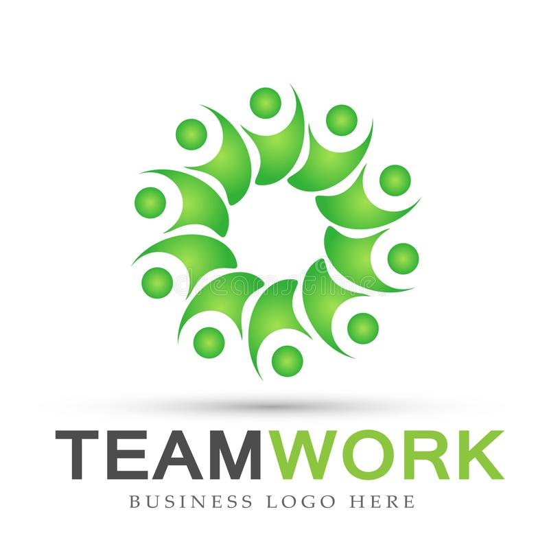 Team work logo partnership education celebration group work people symbol icon vector designs on white background. Ai10 illustrations for company or any type royalty free illustration