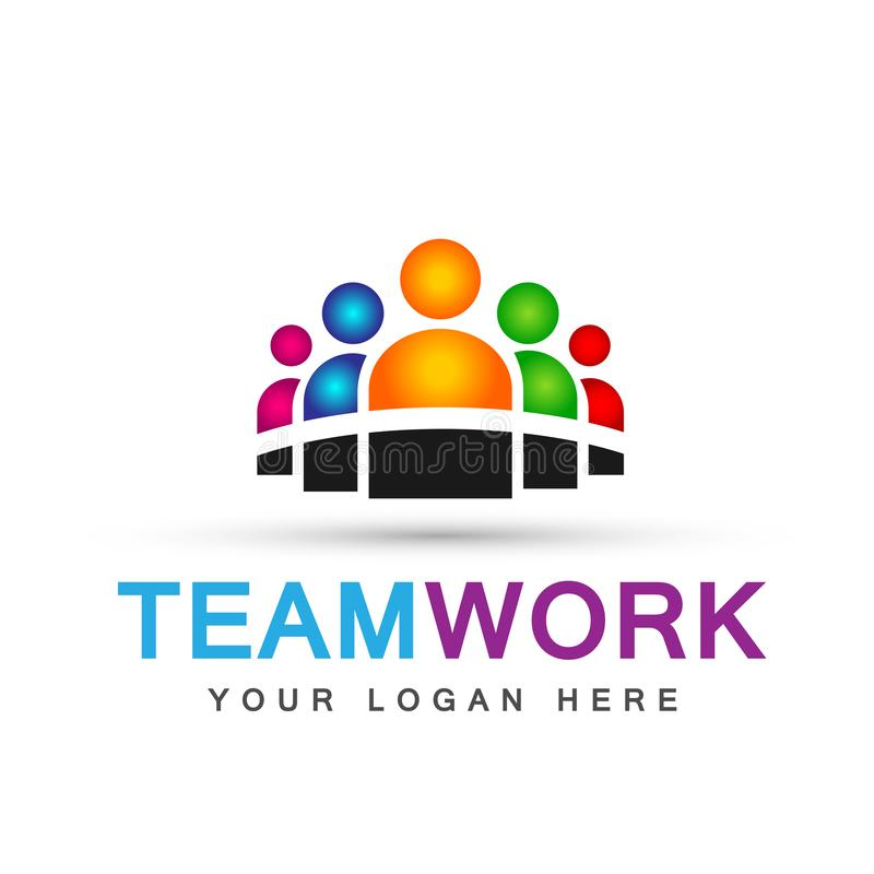 Team work logo partnership education celebration group work people symbol icon vector designs on white background. For company or any type design stock illustration