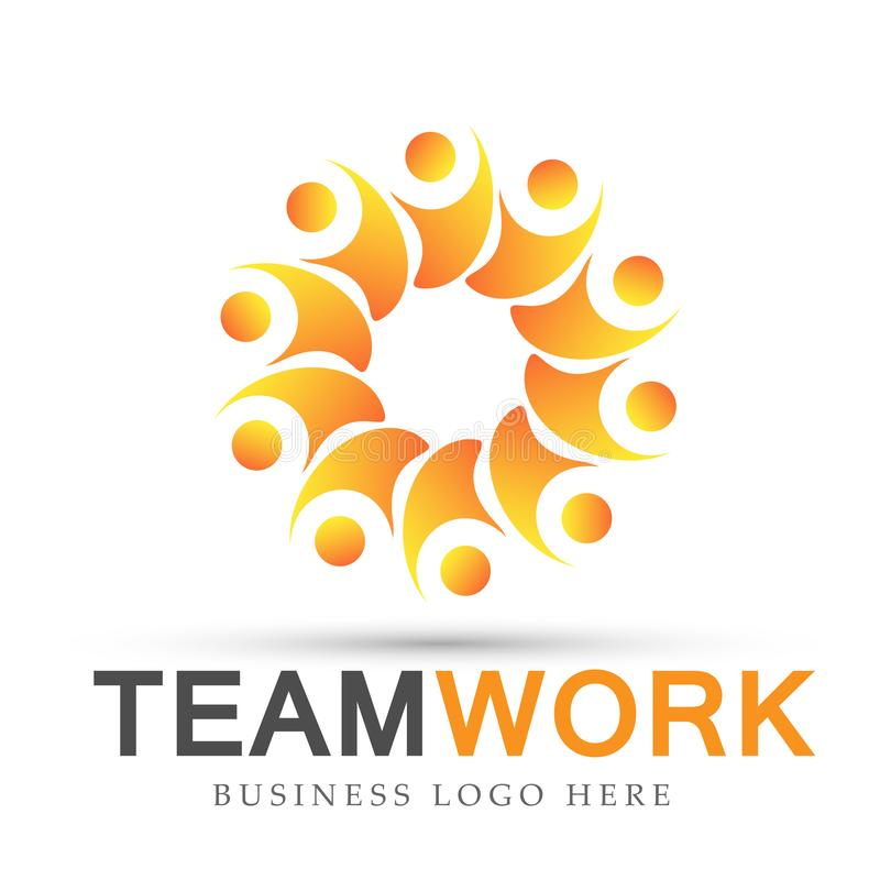 Team work logo partnership education celebration group work people symbol icon vector designs on white background. Ai10 illustrations for company or any type stock illustration