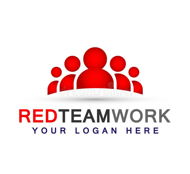 Team work logo in red partnership education celebration group work people symbol icon vector designs on white background royalty free illustration
