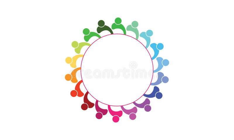 Team Work Logo - rund affär Team United Logo för rundad Team Work Union People Logo mall royaltyfri illustrationer