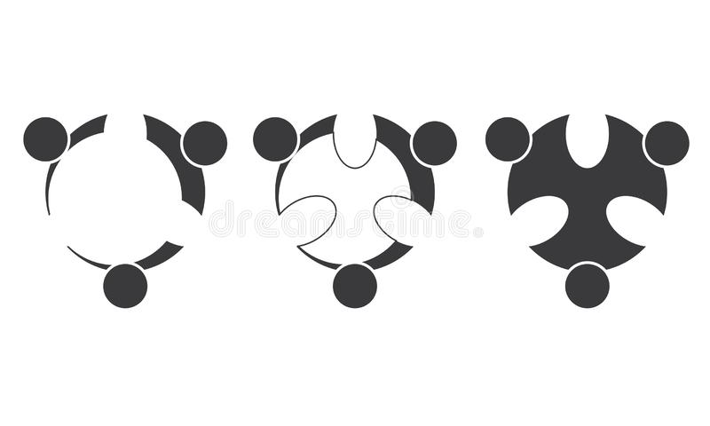 Team Work Logo - rund aff?r Team United Logo f?r rundad Team Work Union People Logo mall vektor illustrationer