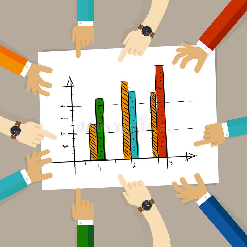 Team work on paper looking to chart bar progress success business concept of planning hands pointing collaboration group. In office vector royalty free illustration