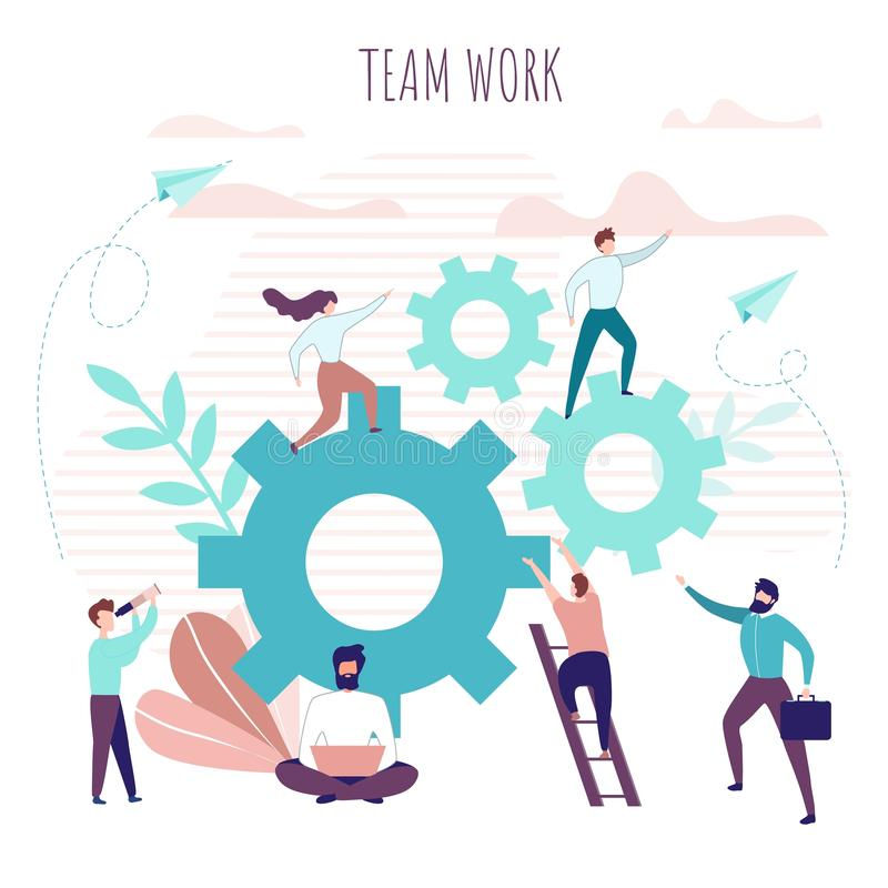 Team Work Poster with Collaborating Office People royalty free illustration