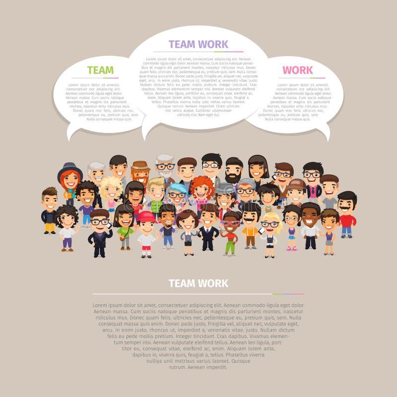 Team Work Poster com povos ilustração royalty free