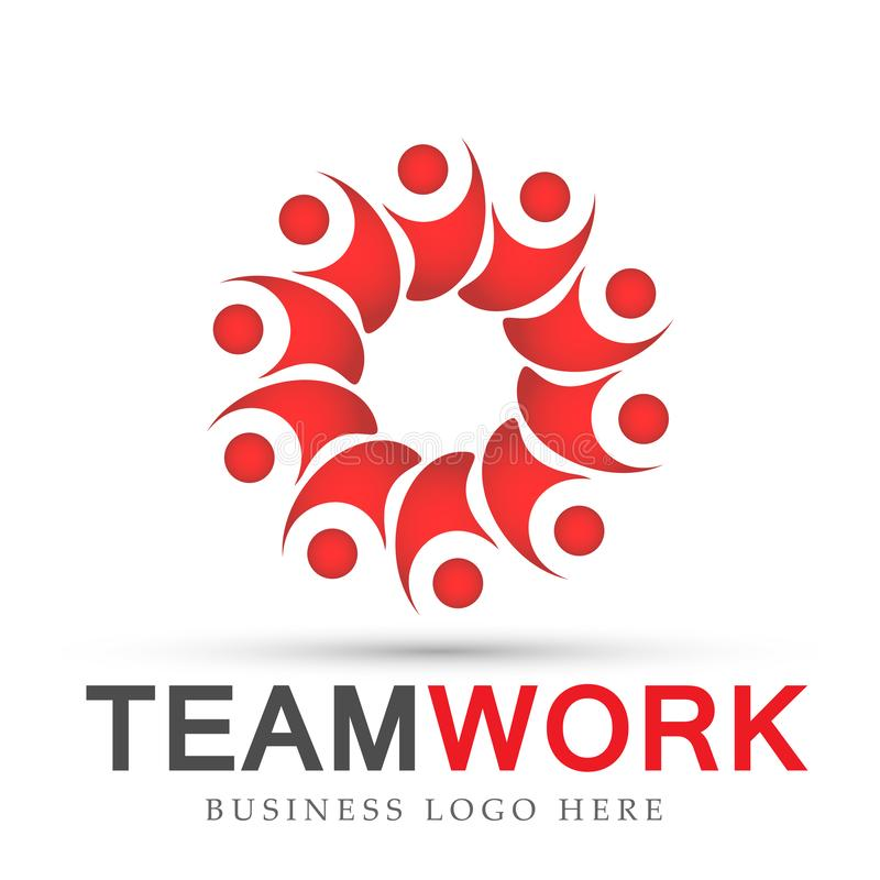 Team work in red logo partnership education celebration group work people symbol icon vector designs on white background. Team work logo partnership education royalty free illustration