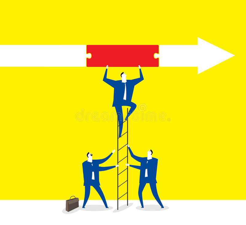 Team work. Three business men work together and try to go forward royalty free illustration