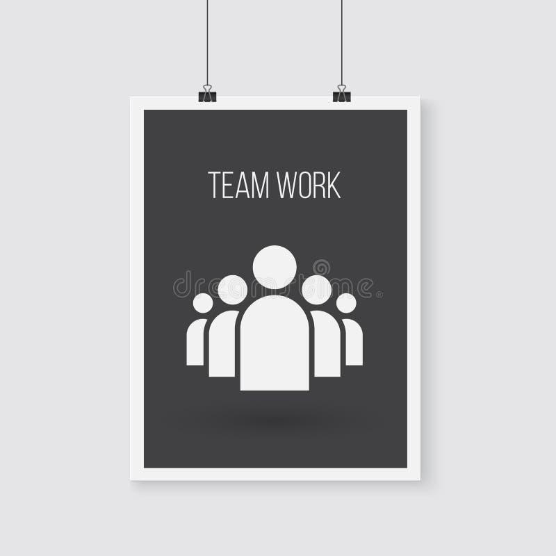 Team Work Vector Poster op een Muur Vectorgroepspictogram vector illustratie
