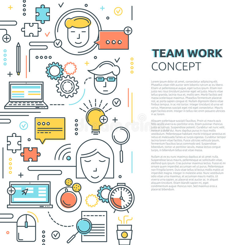 Team Work Vertical Linear Concept ilustración del vector