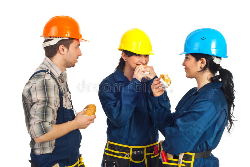 Download Team Of Workers Eating Sandwiches Stock Photo - Image: 19108208