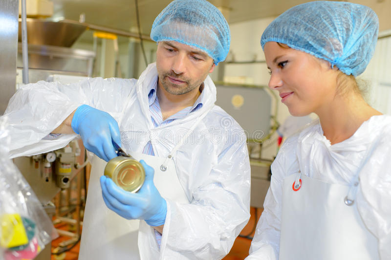 Team workers at food factory royalty free stock image