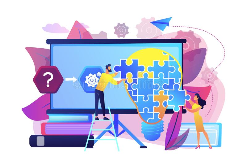 Problem solving concept vector illustration. Team working on analyzing the factors or causes contributing to the unwanted situation. Problem solving, find vector illustration
