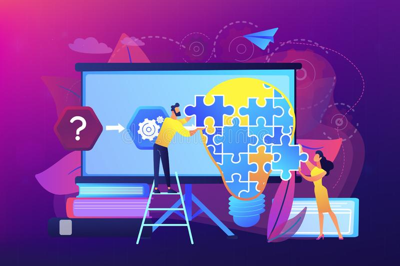 Problem solving concept vector illustration. Team working on analyzing the factors or causes contributing to the unwanted situation. Problem solving, find stock illustration