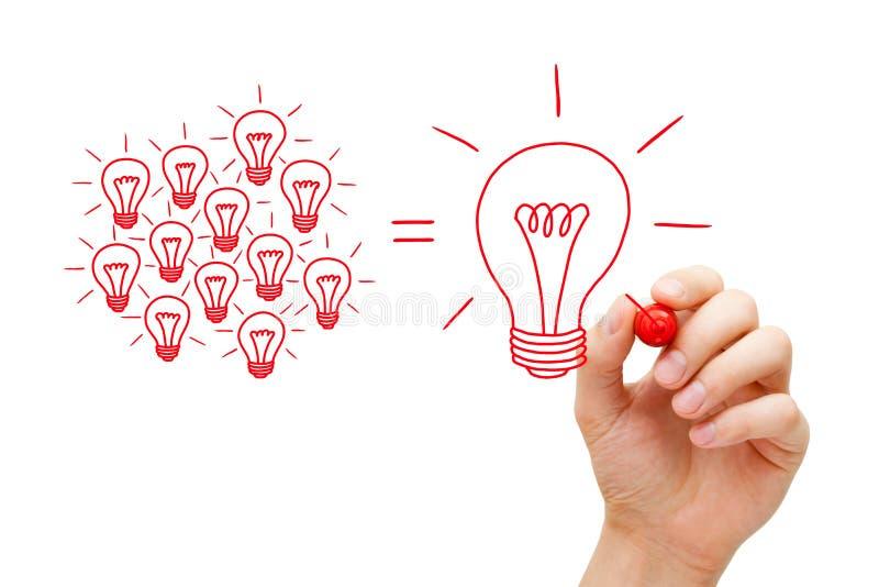 Team Working On Idea Light-Bollenconcept royalty-vrije stock foto