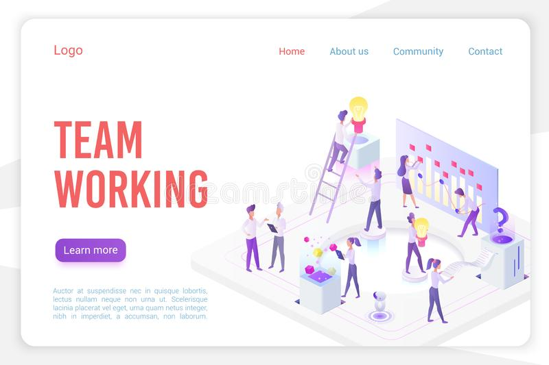 Team working landing page isometric vector template. Stock market analysis and monitoring 3d web banner concept stock illustration