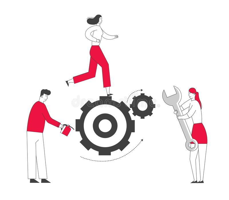 Team Working Process Concept. Tiny Business People Men and Women Generating Ideas Set in Motion and Grease. With Oil Huge Gears and Cogwheels, Alternative vector illustration