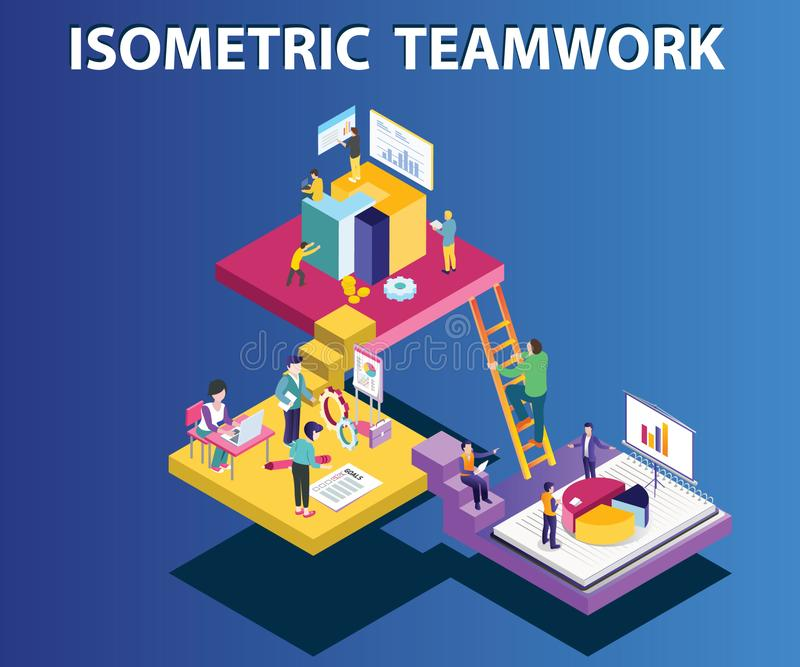 Team Working tillsammans som kör ett isometriskt konstverkbegrepp för företag vektor illustrationer