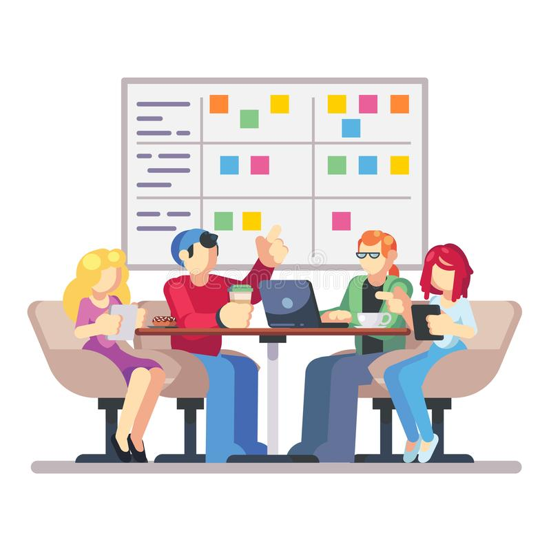 Team working together on a big IT startup business. Strategy planning meeting. SCRUM task board hanging in a team room vector illustration