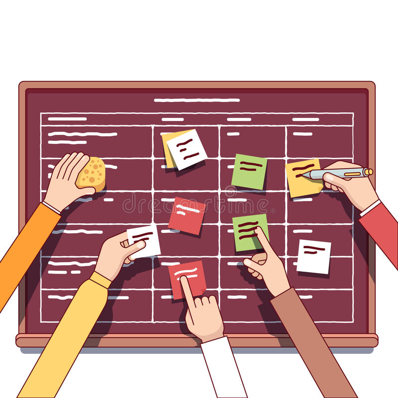 Team working together on a IT startup business. Software development team working together on a IT startup business. Scrum task board full of tasks on sticky vector illustration