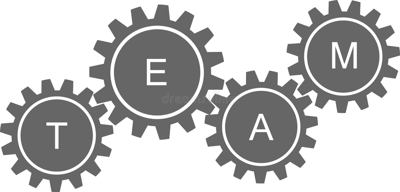 Team written in machine wheels. Available in vector format royalty free illustration