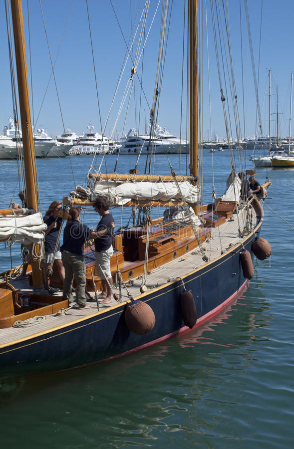 Team On The Yacht And Old Sailing Ship Detail Editorial Photography