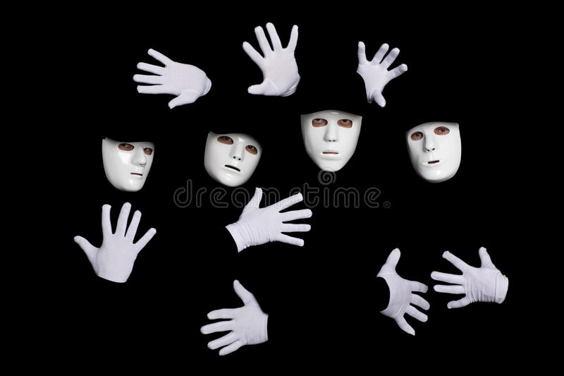 Team of young break dancers in masks royalty free stock photo
