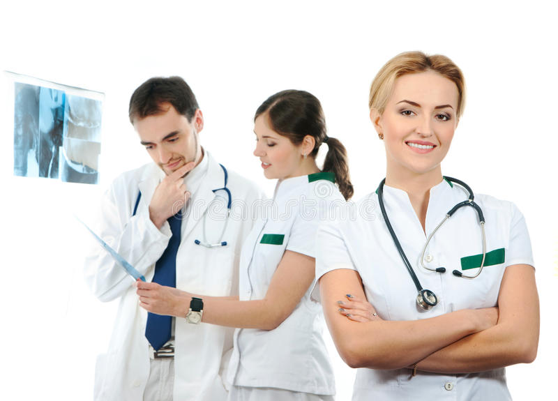 Download A Team Of Young Caucasian Doctors In White Clothes Stock Photo - Image of lady, isolated: 25240554