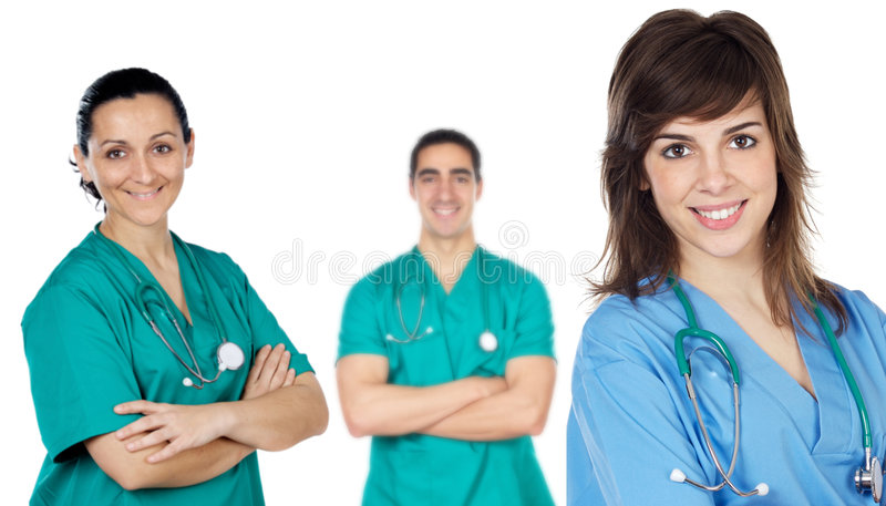 Team of young doctors royalty free stock image