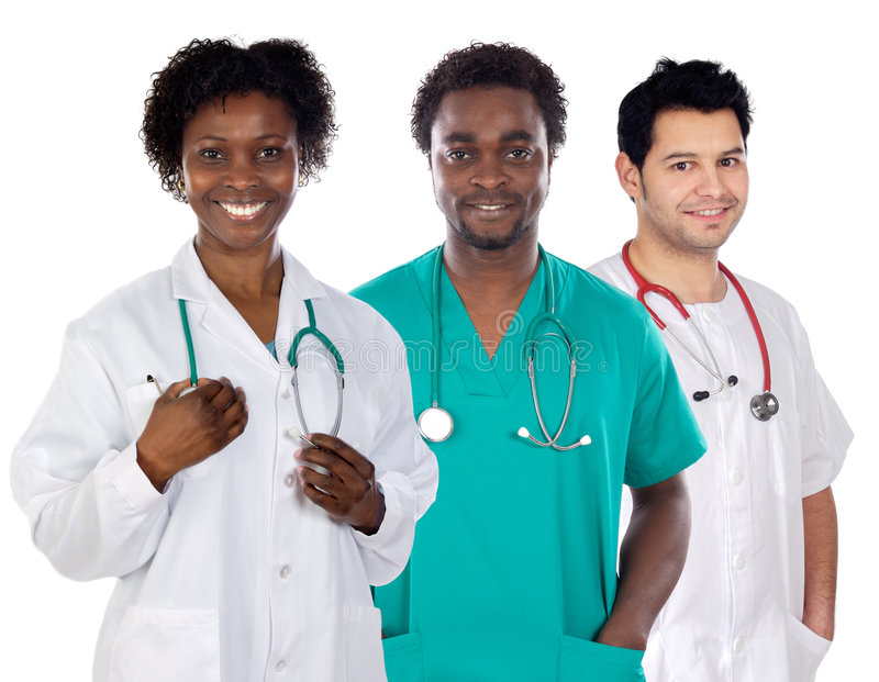 Team of young doctors royalty free stock photos