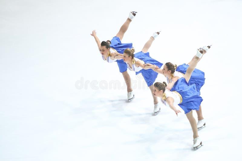 Team Zagreb Snowflakes Senior Pirouette photo libre de droits