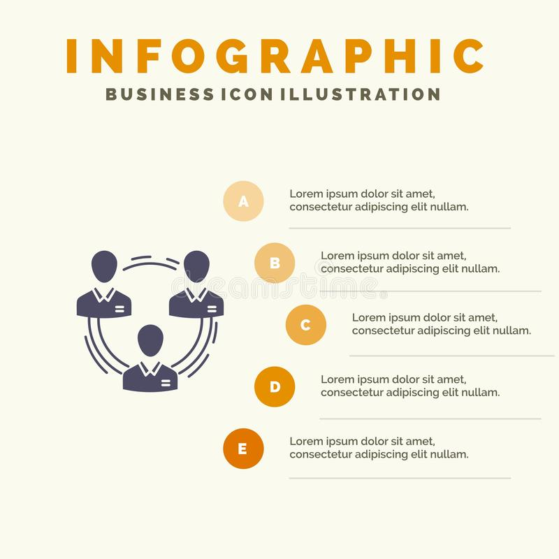 Team, Zaken, Mededeling, Hiërarchie, Mensen, Sociaal, Structuur Stevig Pictogram Infographics 5 de Achtergrond van de Stappenpres stock illustratie