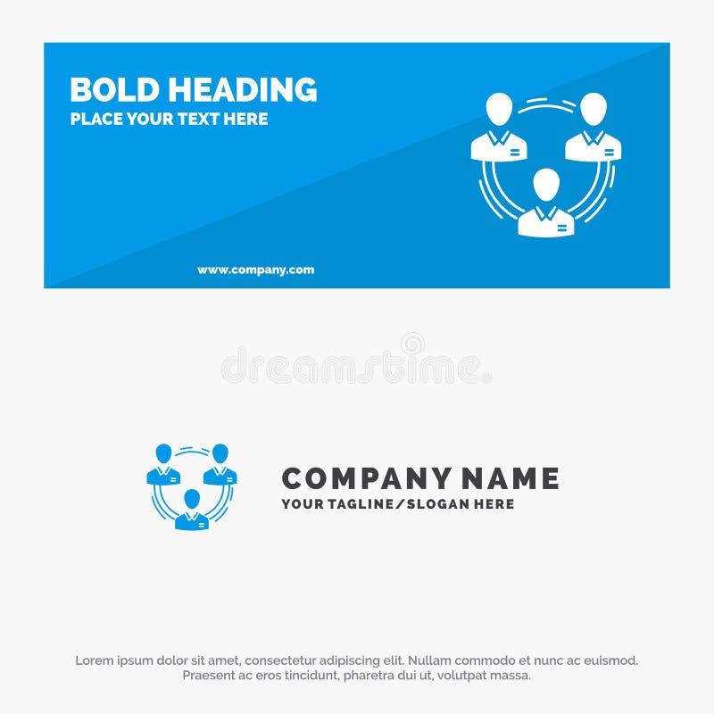 Team, Zaken, Mededeling, Hiërarchie, Mensen, Sociale, de Websitebanner en Zaken Logo Template van het Structuur Stevige Pictogram vector illustratie